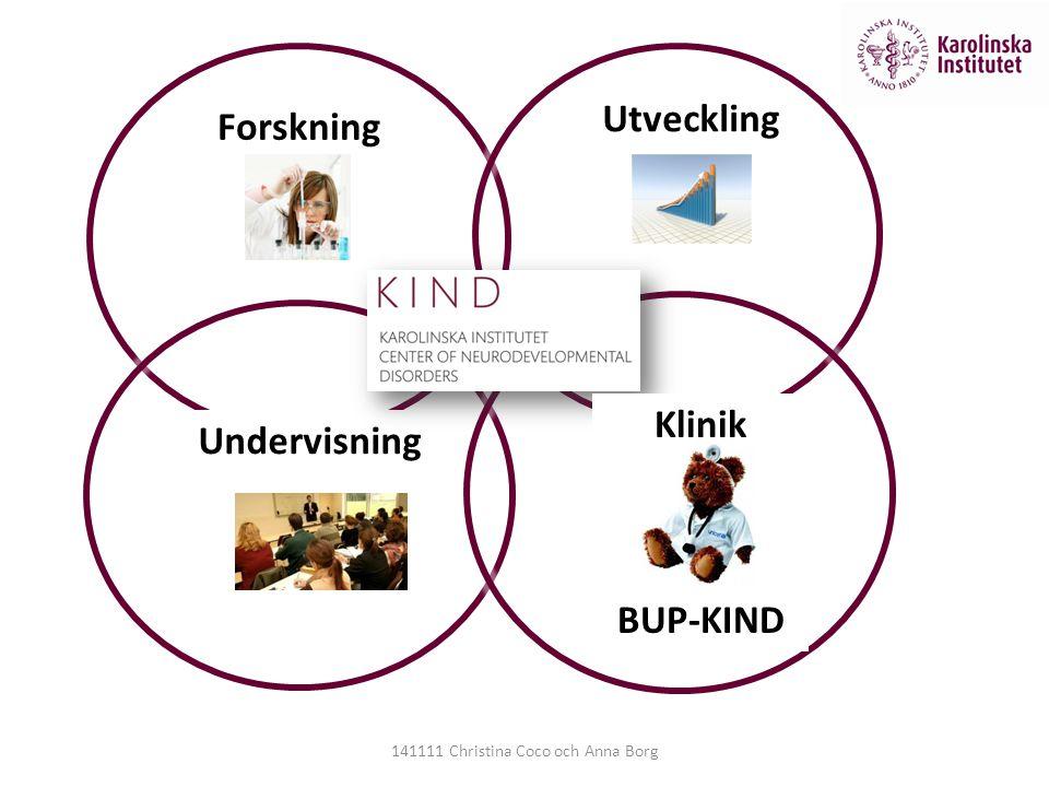 Forskning Utveckling Undervisning Klinik BUP-KIND 141111 Christina Coco och Anna Borg