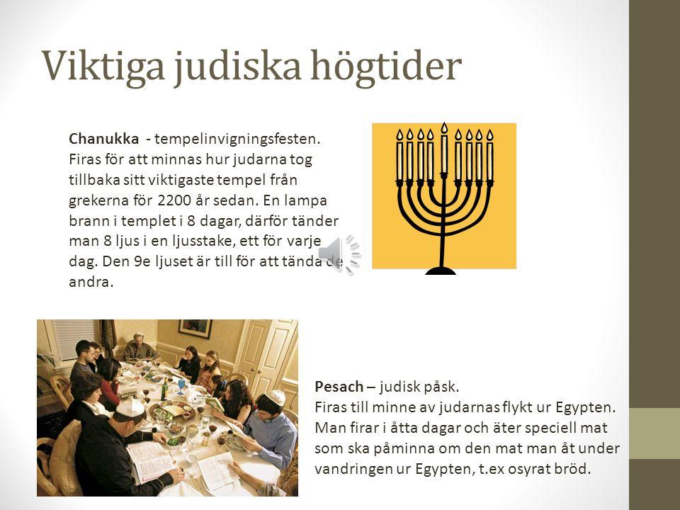 Viktiga judiska högtider Chanukka - tempelinvigningsfesten.