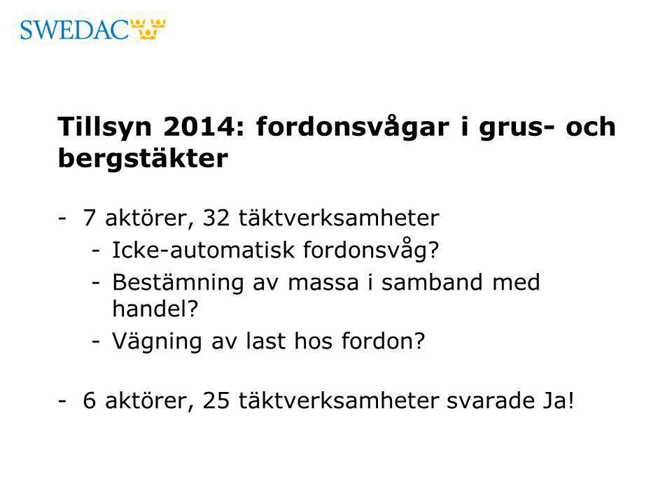 Tillsyn 2014: fordonsvågar i grus- och bergstäkter -7 aktörer, 32 täktverksamheter -Icke-automatisk fordonsvåg? -Bestämning av massa i samband med han
