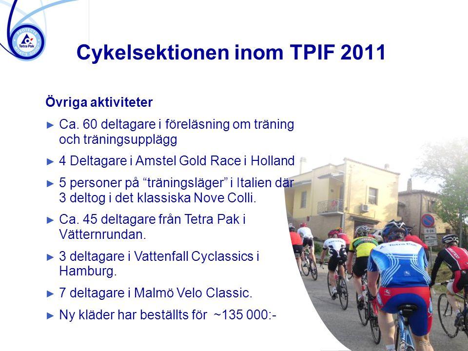 """/ 3 Övriga aktiviteter ► Ca. 60 deltagare i föreläsning om träning och träningsupplägg ► 4 Deltagare i Amstel Gold Race i Holland ► 5 personer på """"trä"""