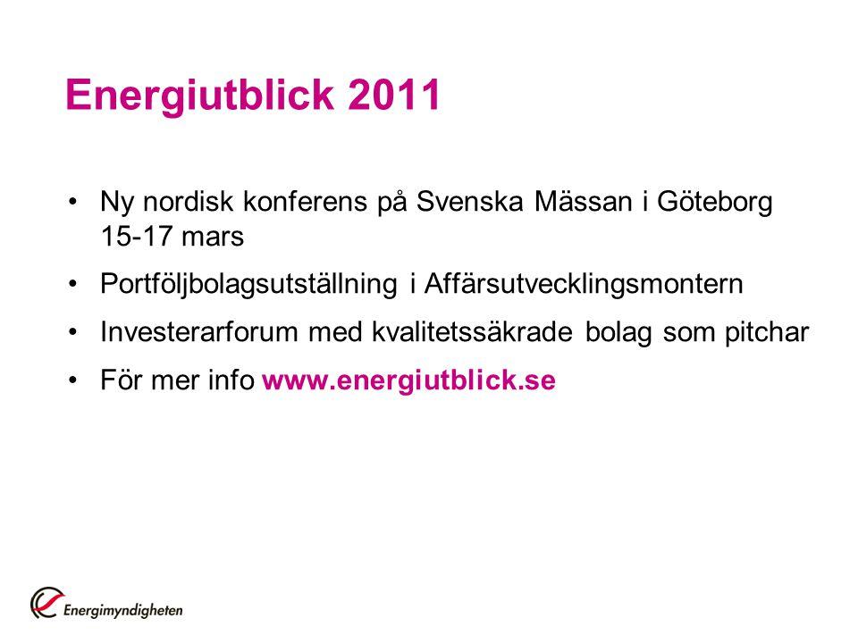 Energiutblick 2011 Ny nordisk konferens på Svenska Mässan i Göteborg 15-17 mars Portföljbolagsutställning i Affärsutvecklingsmontern Investerarforum m