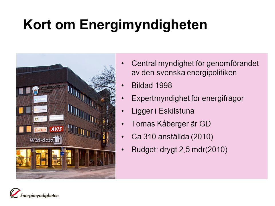 Kort om Energimyndigheten Central myndighet för genomförandet av den svenska energipolitiken Bildad 1998 Expertmyndighet för energifrågor Ligger i Esk