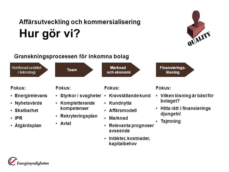 Affärsutveckling och kommersialisering Hur gör vi? Verifierad unikitet i teknologi Team Marknad och ekonomi Finansierings- lösning Granskningsprocesse