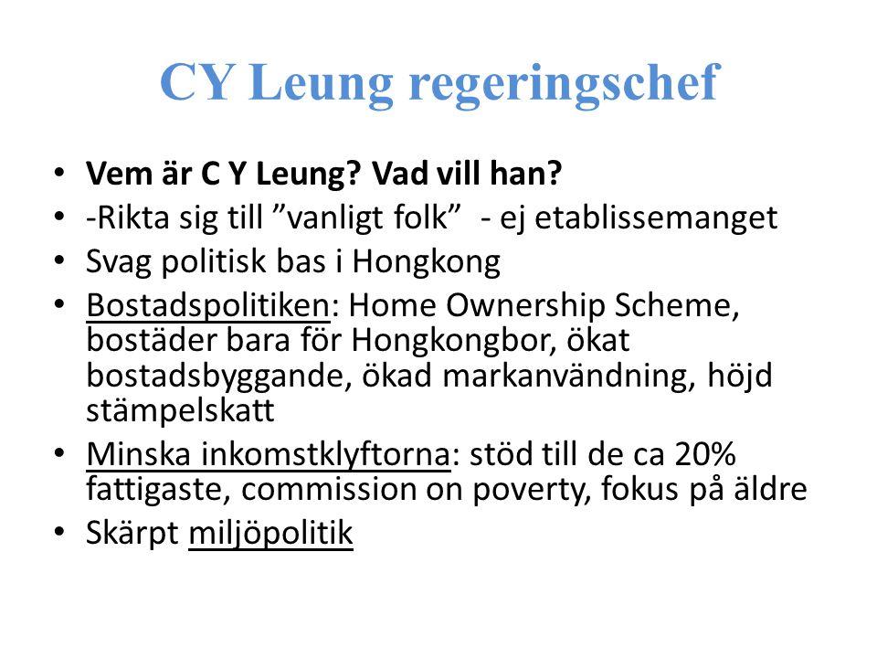 CY Leung regeringschef Vem är C Y Leung. Vad vill han.