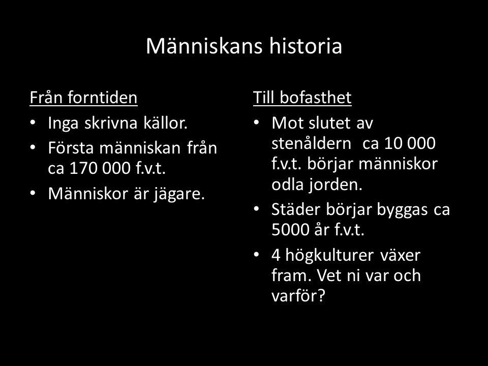 Människans historia Från forntiden Inga skrivna källor. Första människan från ca 170 000 f.v.t. Människor är jägare. Till bofasthet Mot slutet av sten