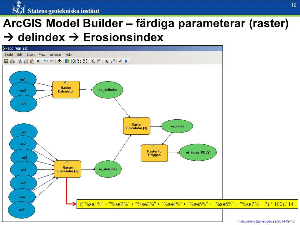 12 mats.oberg@swedgeo.se/2014-09-12 ArcGIS Model Builder – färdiga parameterar (raster)  delindex  Erosionsindex (( %se1% + %se2% + %se3% + %se4% + %se5% + %se6% + %se7% - 7) * 100) / 14