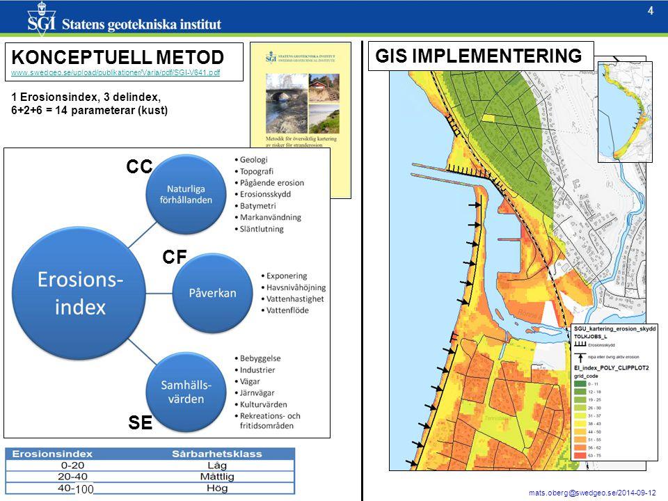 4 4 mats.oberg@swedgeo.se/2014-09-12 100 KONCEPTUELL METOD www.swedgeo.se/upload/publikationer/Varia/pdf/SGI-V641.pdf GIS IMPLEMENTERING CC CF SE 1 Er