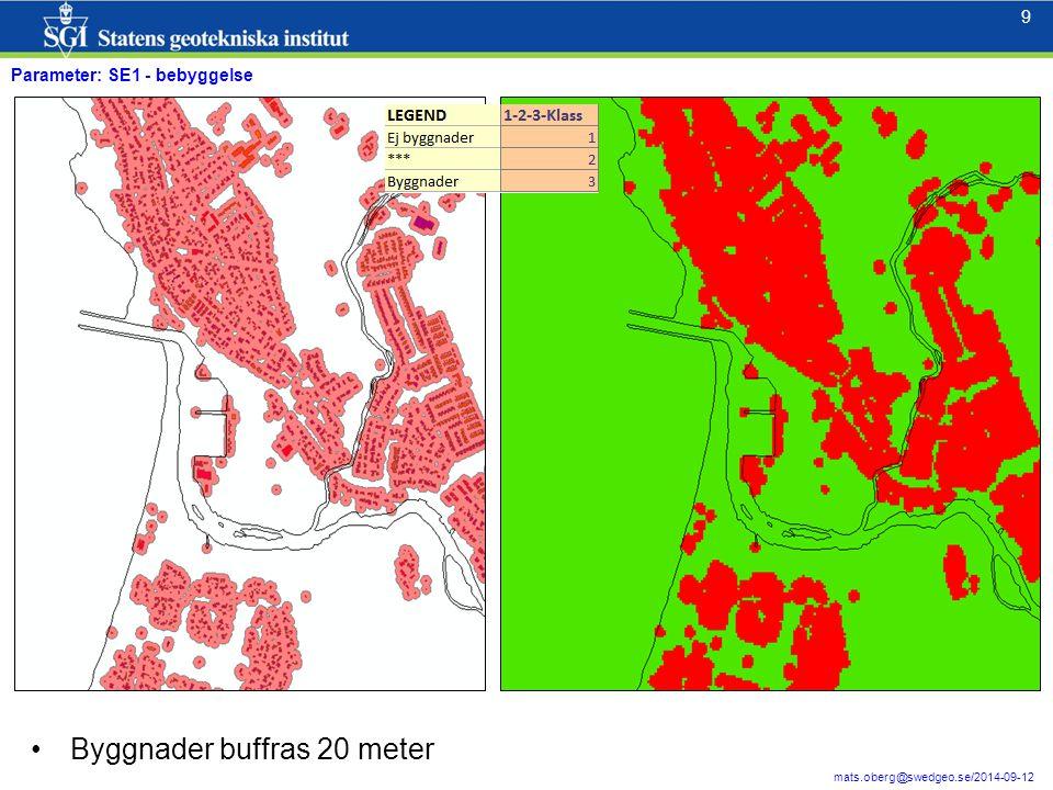 9 9 mats.oberg@swedgeo.se/2014-09-12 Parameter: SE1 - bebyggelse Byggnader buffras 20 meter