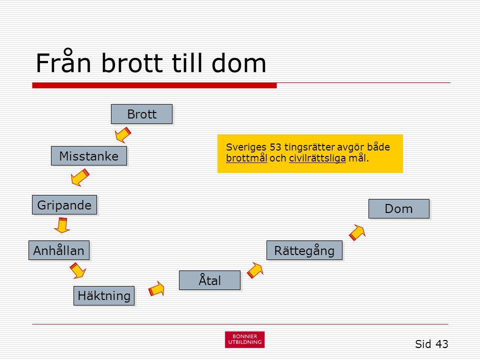 Från brott till dom Sid 43 Brott Åtal Misstanke Gripande Anhållan Häktning Rättegång Dom Sveriges 53 tingsrätter avgör både brottmål och civilrättsliga mål.