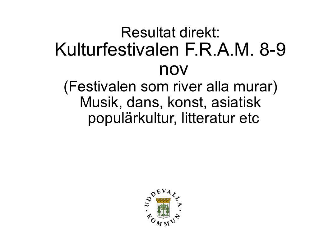 Resultat direkt: Kulturfestivalen F.R.A.M. 8-9 nov (Festivalen som river alla murar) Musik, dans, konst, asiatisk populärkultur, litteratur etc