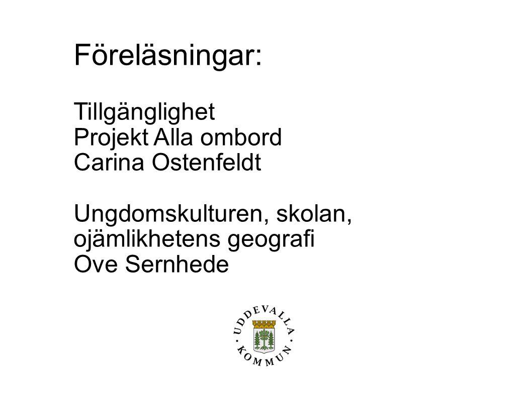 Föreläsningar: Tillgänglighet Projekt Alla ombord Carina Ostenfeldt Ungdomskulturen, skolan, ojämlikhetens geografi Ove Sernhede