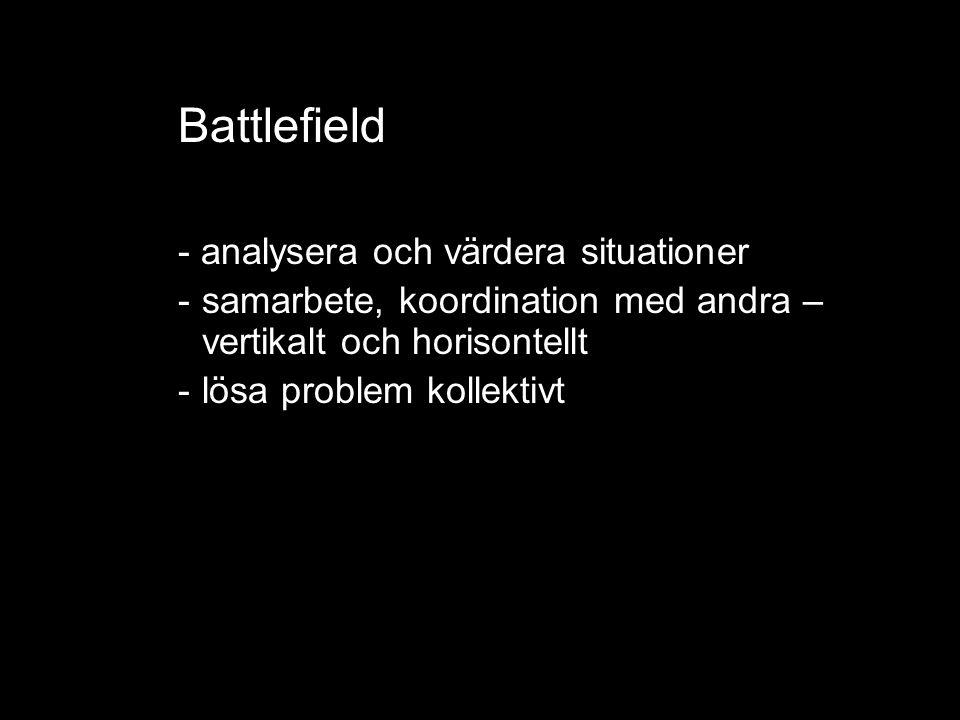 Battlefield - analysera och värdera situationer -samarbete, koordination med andra – vertikalt och horisontellt -lösa problem kollektivt