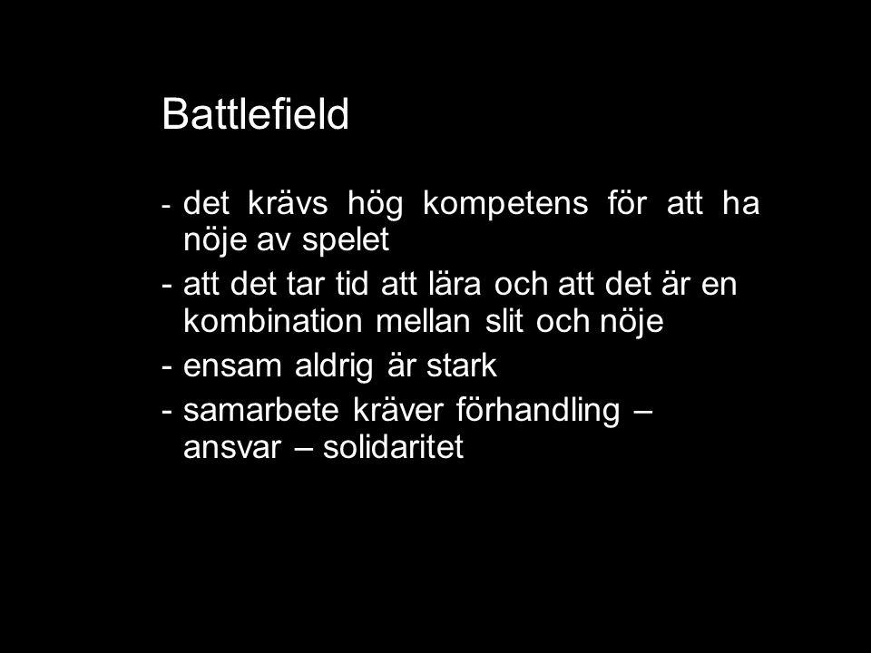 Battlefield - det krävs hög kompetens för att ha nöje av spelet -att det tar tid att lära och att det är en kombination mellan slit och nöje -ensam aldrig är stark -samarbete kräver förhandling – ansvar – solidaritet