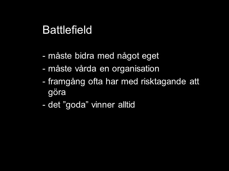 Battlefield -måste bidra med något eget -måste vårda en organisation -framgång ofta har med risktagande att göra -det goda vinner alltid