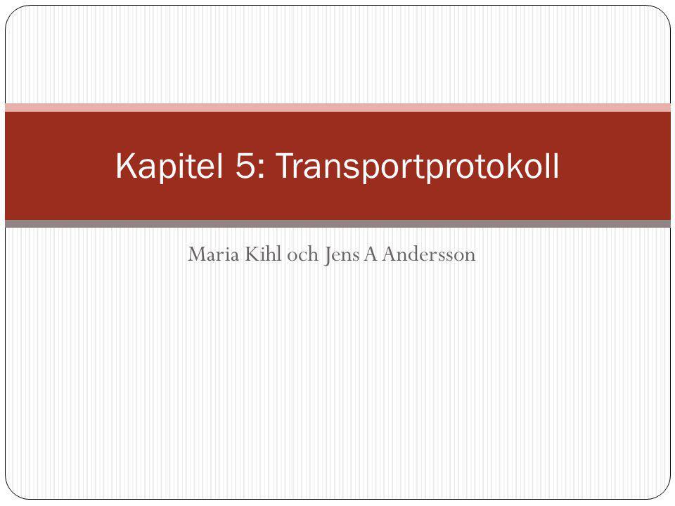 Figur 5.1: Funktionen hos ett transportprotokoll Applikation Transport Nät Länk Fysisk Applikation Transport Nät Länk Fysisk Nätet