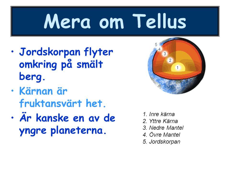 Mera om Tellus Jordskorpan flyter omkring på smält berg. Kärnan är fruktansvärt het. Är kanske en av de yngre planeterna. 1. Inre kärna 2. Yttre Kärna