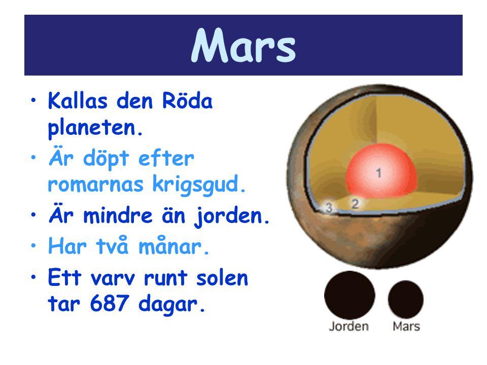 Mars Kallas den Röda planeten. Är döpt efter romarnas krigsgud. Är mindre än jorden. Har två månar. Ett varv runt solen tar 687 dagar.