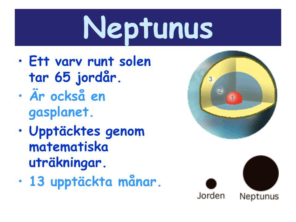Neptunus Ett varv runt solen tar 65 jordår. Är också en gasplanet. Upptäcktes genom matematiska uträkningar. 13 upptäckta månar.