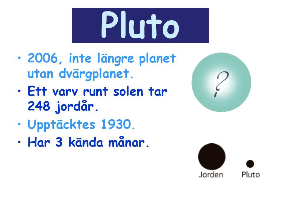 Pluto 2006, inte längre planet utan dvärgplanet. Ett varv runt solen tar 248 jordår. Upptäcktes 1930. Har 3 kända månar.