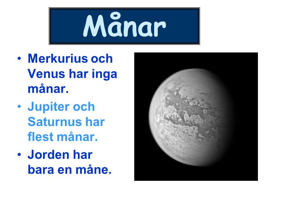 Månar Merkurius och Venus har inga månar. Jupiter och Saturnus har flest månar. Jorden har bara en måne.