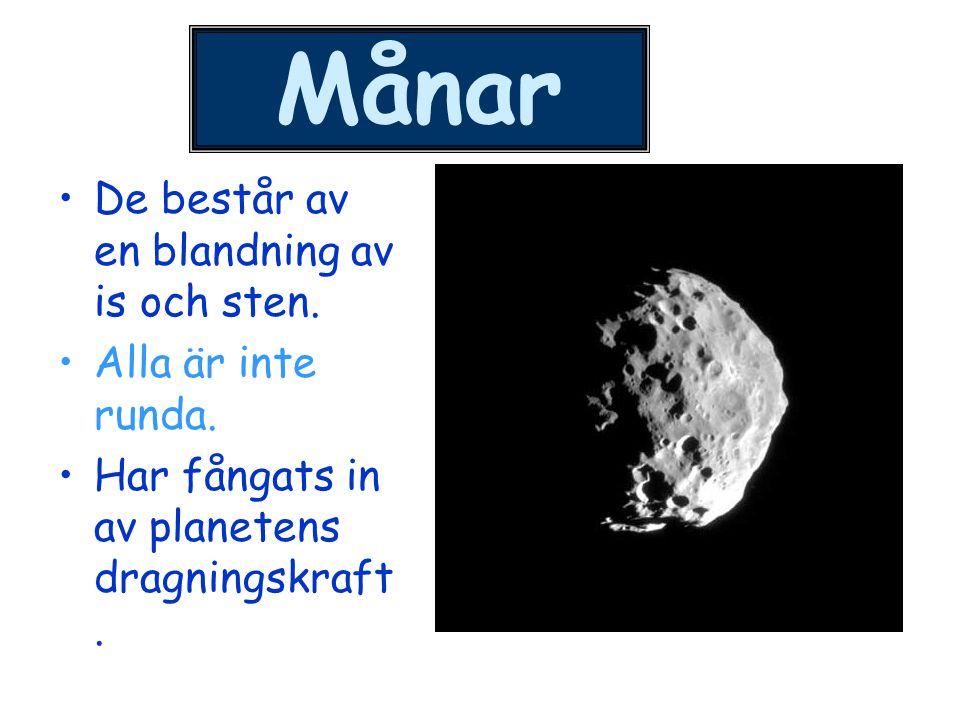 Mars månar Mars har två månar eller satelliter.Phobos är störst och ligger närmast Mars.