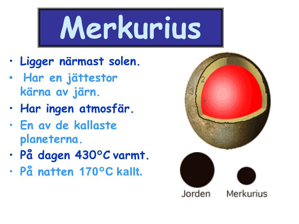 Merkurius Ligger närmast solen. Har en jättestor kärna av järn. Har ingen atmosfär. En av de kallaste planeterna. På dagen 430°C varmt. På natten 170°