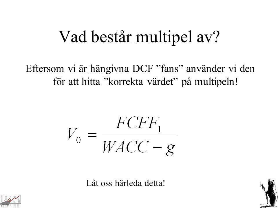 """Vad består multipel av? Eftersom vi är hängivna DCF """"fans"""" använder vi den för att hitta """"korrekta värdet"""" på multipeln! Låt oss härleda detta!"""