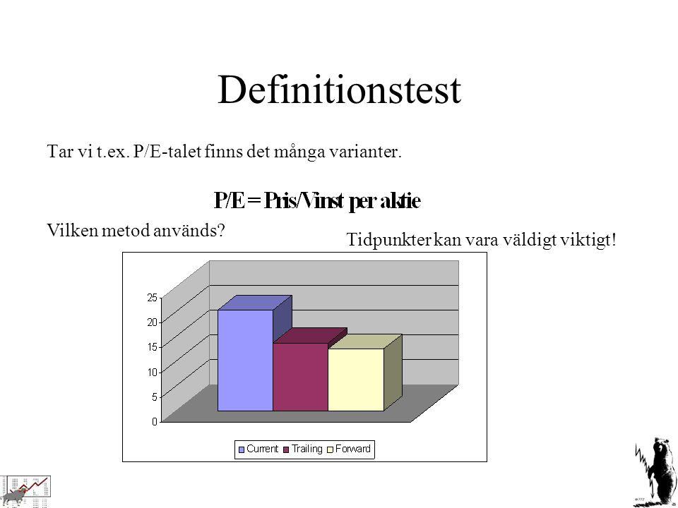 Definitionstest Tar vi t.ex. P/E-talet finns det många varianter. Vilken metod används? Tidpunkter kan vara väldigt viktigt!