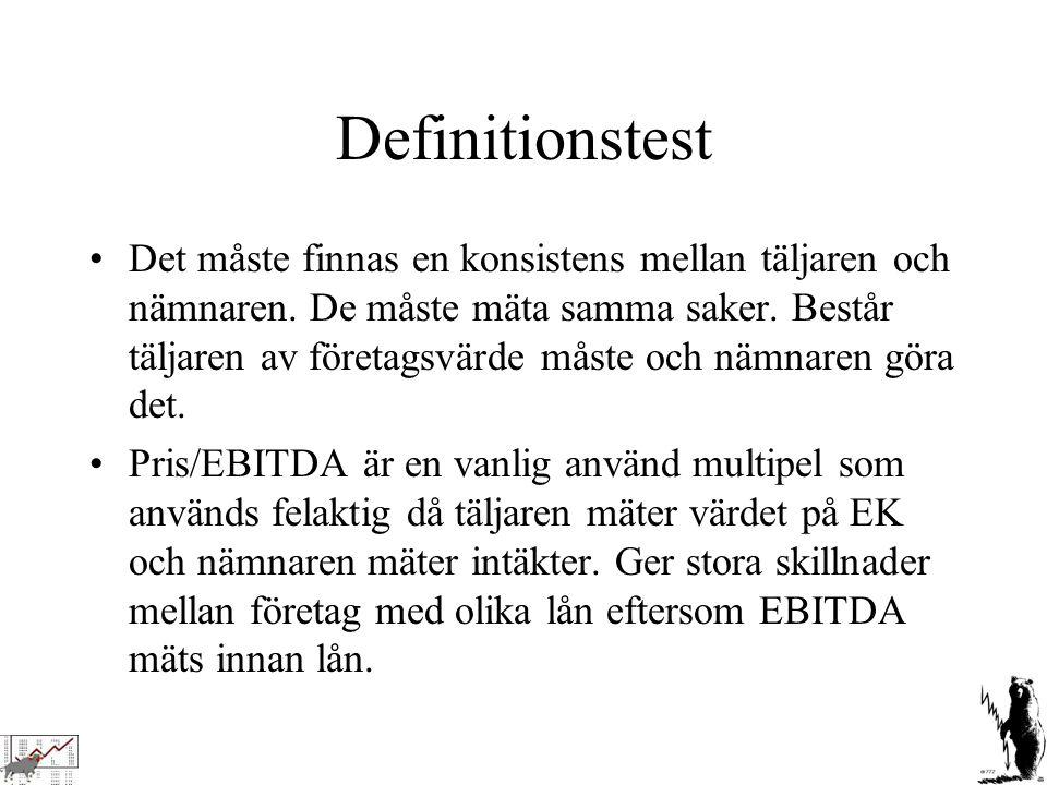 Definitionstest Det måste finnas en konsistens mellan täljaren och nämnaren. De måste mäta samma saker. Består täljaren av företagsvärde måste och näm