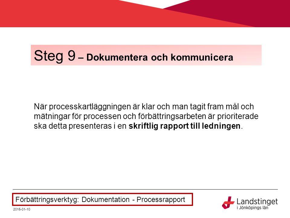 När processkartläggningen är klar och man tagit fram mål och mätningar för processen och förbättringsarbeten är prioriterade ska detta presenteras i e