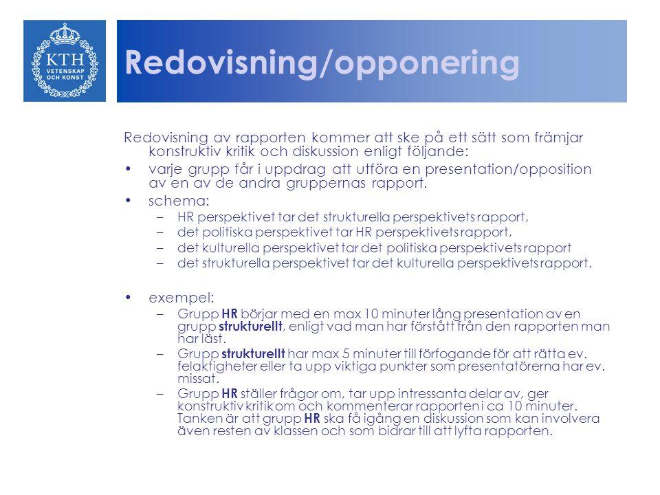 Redovisning/opponering Redovisning av rapporten kommer att ske på ett sätt som främjar konstruktiv kritik och diskussion enligt följande: varje grupp får i uppdrag att utföra en presentation/opposition av en av de andra gruppernas rapport.
