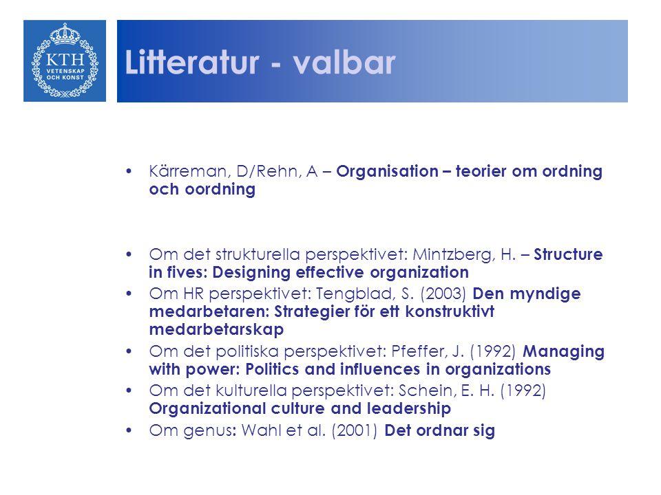 Litteratur - valbar Kärreman, D/Rehn, A – Organisation – teorier om ordning och oordning Om det strukturella perspektivet: Mintzberg, H.