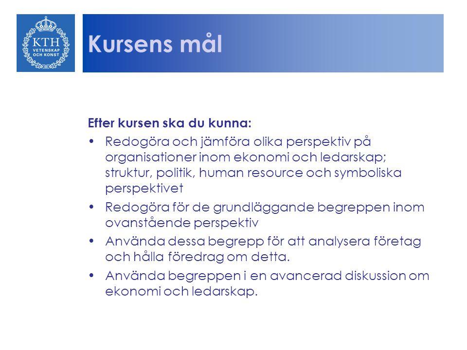 Upplägg Kursen innehåller en obligatorisk samt en valbar litteraturdel om managementproblem på olika systemnivåer inom industri och teknik samt hur man analyserar och utreder sådana.