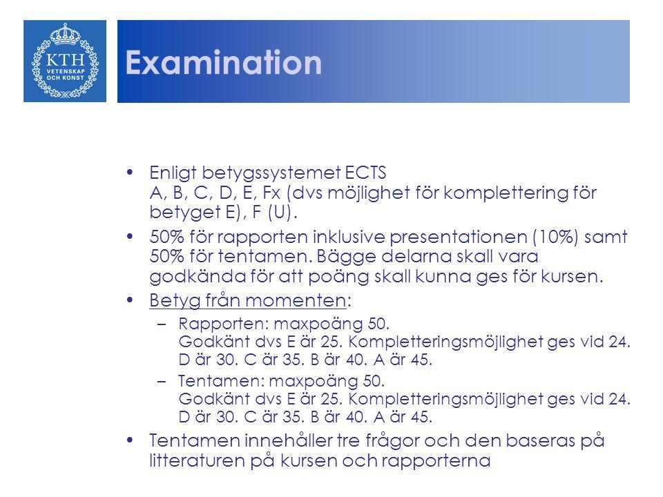 Examination Enligt betygssystemet ECTS A, B, C, D, E, Fx (dvs möjlighet för komplettering för betyget E), F (U).