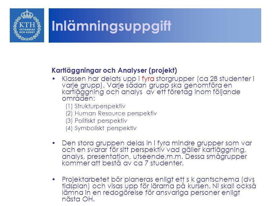 Inlämningsuppgift Kartläggningar och Analyser (projekt) Klassen har delats upp i fyra storgrupper (ca 28 studenter i varje grupp).