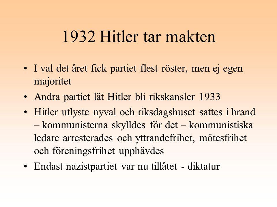 1932 Hitler tar makten I val det året fick partiet flest röster, men ej egen majoritet Andra partiet lät Hitler bli rikskansler 1933 Hitler utlyste ny