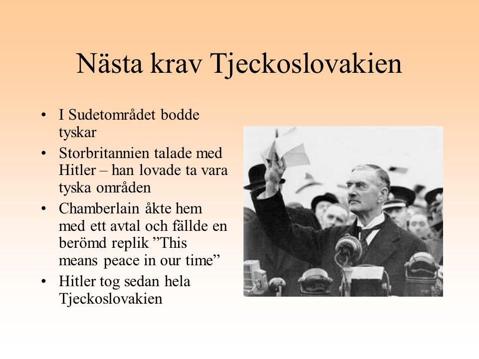 Nästa krav Tjeckoslovakien I Sudetområdet bodde tyskar Storbritannien talade med Hitler – han lovade ta vara tyska områden Chamberlain åkte hem med et