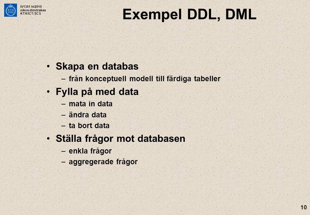 IV1351 ht2010 nikos dimitrakas KTH/ICT/SCS 10 Exempel DDL, DML Skapa en databas –från konceptuell modell till färdiga tabeller Fylla på med data –mata in data –ändra data –ta bort data Ställa frågor mot databasen –enkla frågor –aggregerade frågor