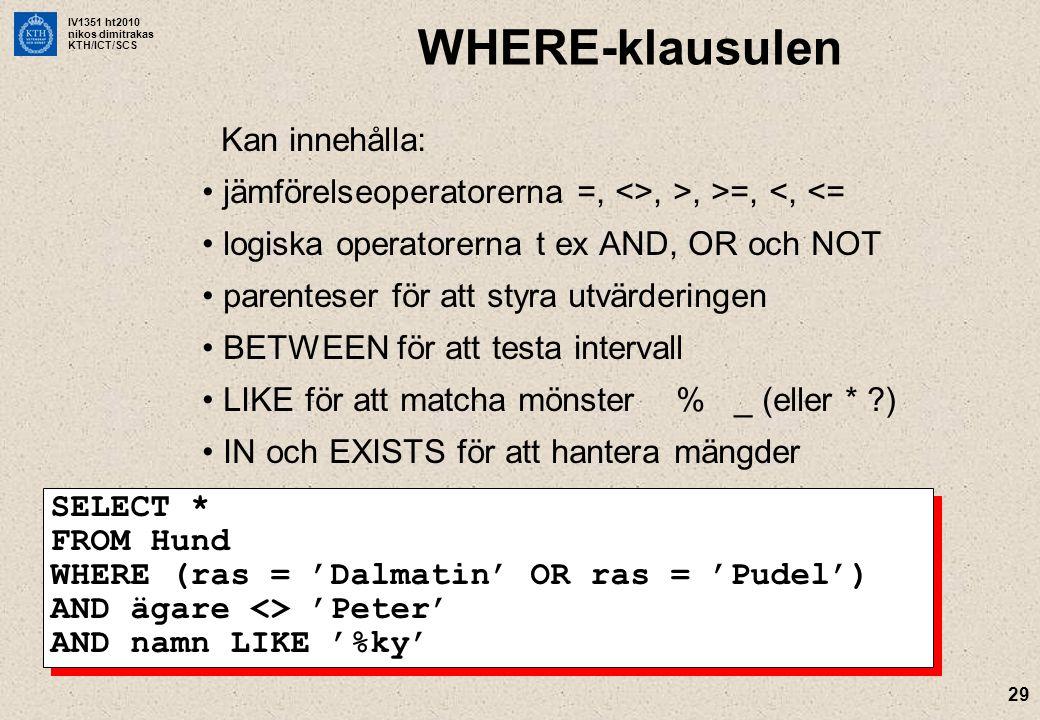 IV1351 ht2010 nikos dimitrakas KTH/ICT/SCS 29 WHERE-klausulen Kan innehålla: jämförelseoperatorerna =, <>, >, >=, <, <= logiska operatorerna t ex AND, OR och NOT parenteser för att styra utvärderingen BETWEEN för att testa intervall LIKE för att matcha mönster % _ (eller * ?) IN och EXISTS för att hantera mängder SELECT * FROM Hund WHERE (ras = 'Dalmatin' OR ras = 'Pudel') AND ägare <> 'Peter' AND namn LIKE '%ky'