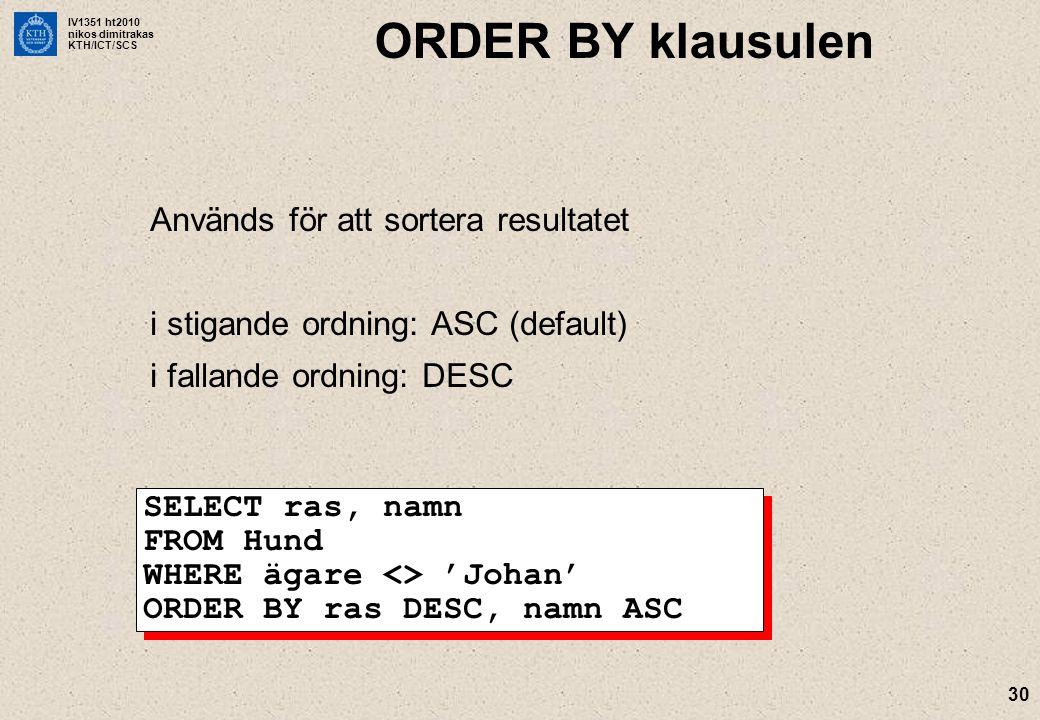 IV1351 ht2010 nikos dimitrakas KTH/ICT/SCS 30 ORDER BY klausulen Används för att sortera resultatet i stigande ordning: ASC (default) i fallande ordning: DESC SELECT ras, namn FROM Hund WHERE ägare <> 'Johan' ORDER BY ras DESC, namn ASC