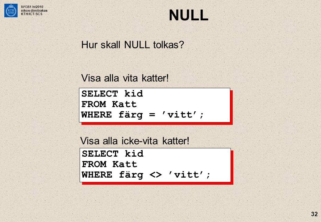 IV1351 ht2010 nikos dimitrakas KTH/ICT/SCS 32 NULL Hur skall NULL tolkas.