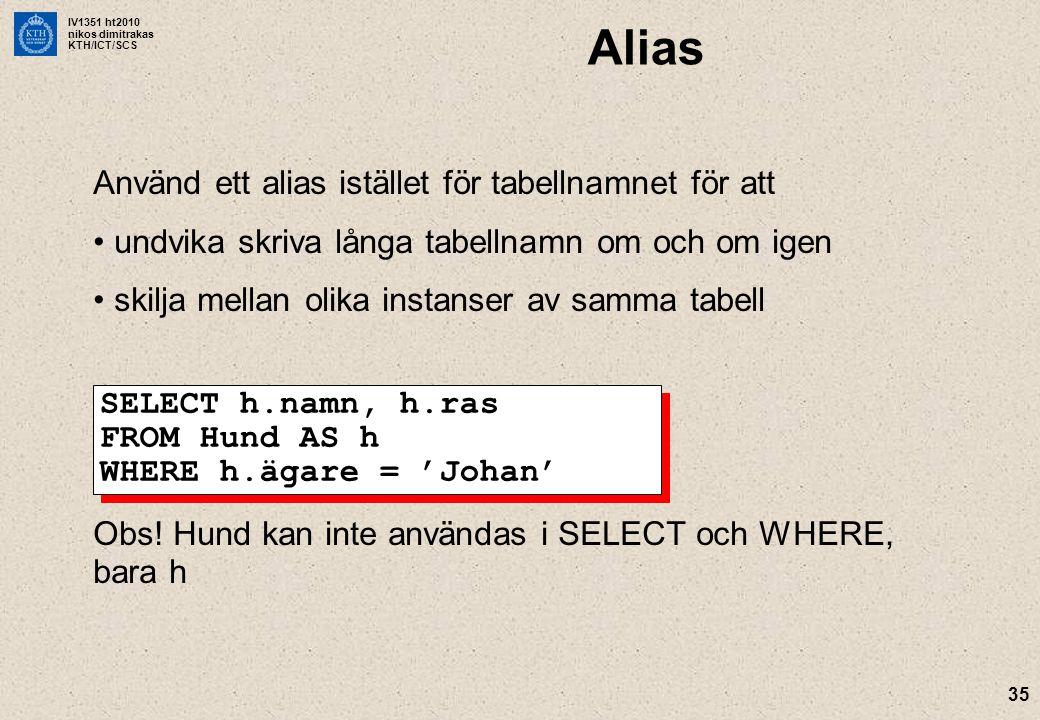 IV1351 ht2010 nikos dimitrakas KTH/ICT/SCS 35 Alias Använd ett alias istället för tabellnamnet för att undvika skriva långa tabellnamn om och om igen skilja mellan olika instanser av samma tabell Obs.