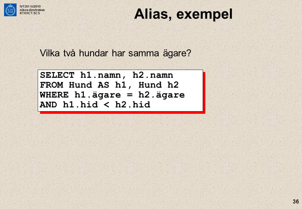 IV1351 ht2010 nikos dimitrakas KTH/ICT/SCS 36 Alias, exempel Vilka två hundar har samma ägare? SELECT h1.namn, h2.namn FROM Hund AS h1, Hund h2 WHERE