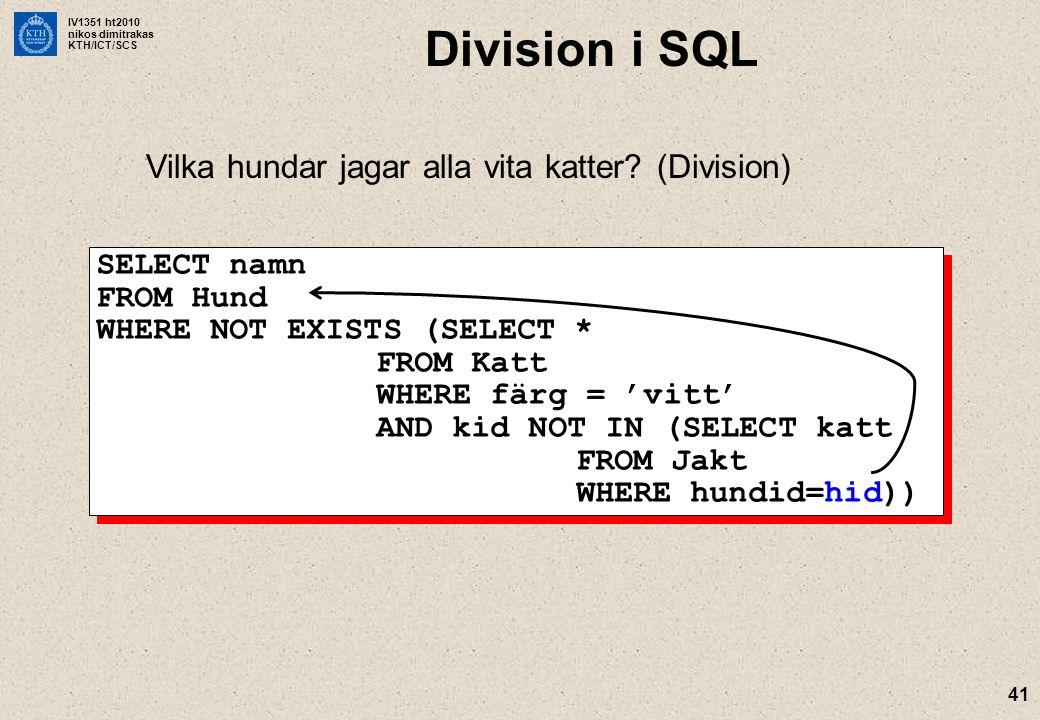 IV1351 ht2010 nikos dimitrakas KTH/ICT/SCS 41 Division i SQL Vilka hundar jagar alla vita katter? (Division) SELECT namn FROM Hund WHERE NOT EXISTS (S