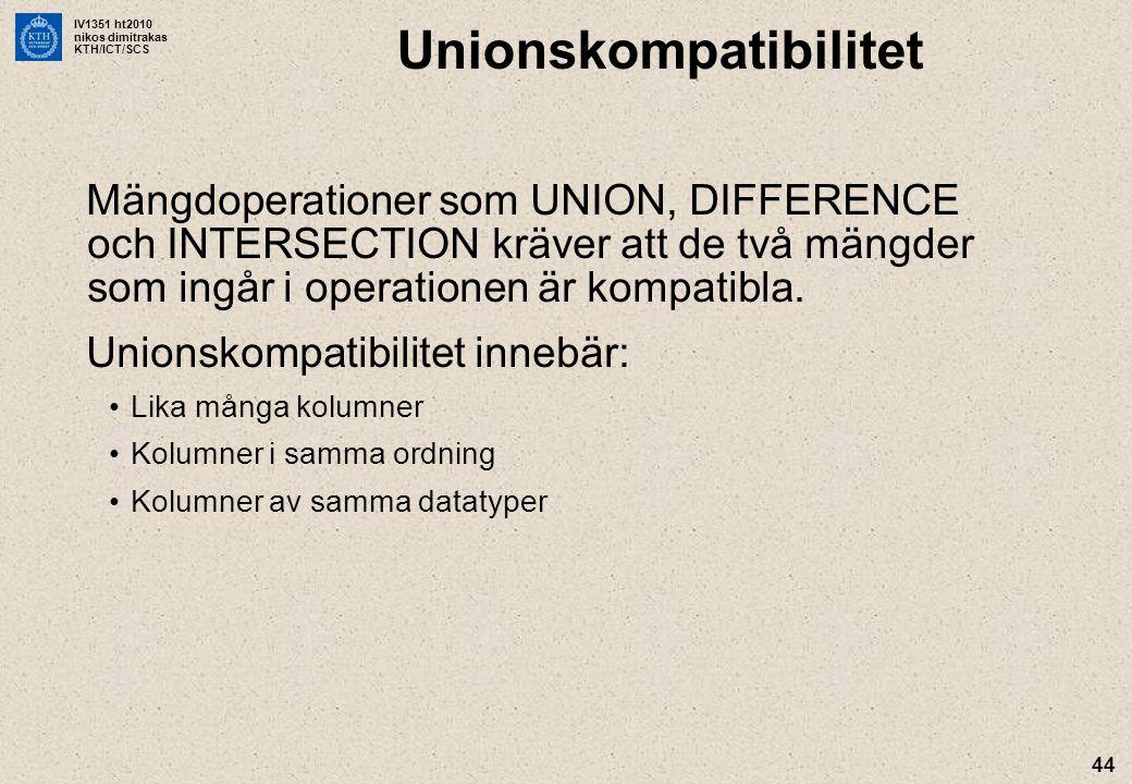 IV1351 ht2010 nikos dimitrakas KTH/ICT/SCS 44 Unionskompatibilitet Mängdoperationer som UNION, DIFFERENCE och INTERSECTION kräver att de två mängder som ingår i operationen är kompatibla.