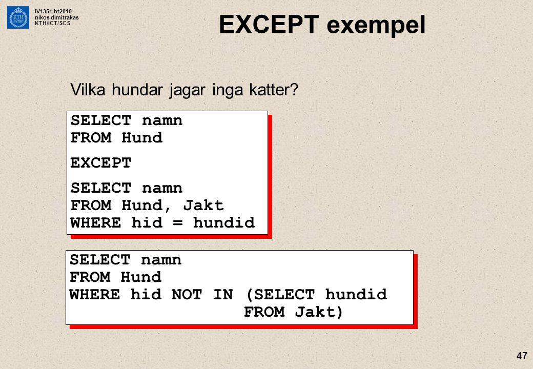 IV1351 ht2010 nikos dimitrakas KTH/ICT/SCS 47 EXCEPT exempel Vilka hundar jagar inga katter? SELECT namn FROM Hund EXCEPT SELECT namn FROM Hund, Jakt