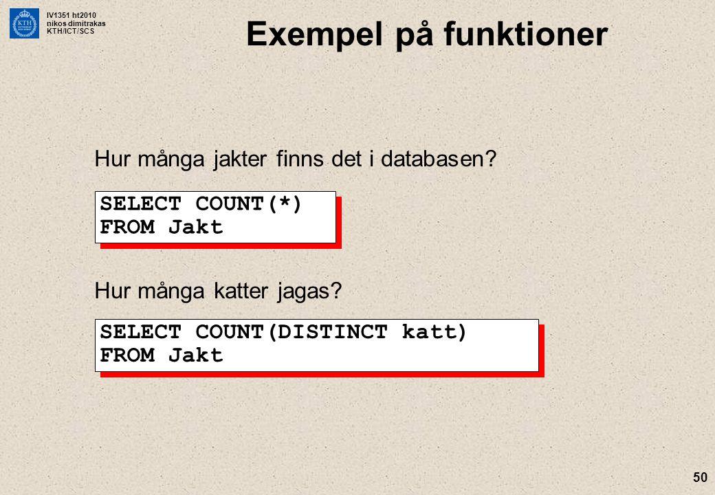 IV1351 ht2010 nikos dimitrakas KTH/ICT/SCS 50 Exempel på funktioner Hur många jakter finns det i databasen? SELECT COUNT(*) FROM Jakt Hur många katter