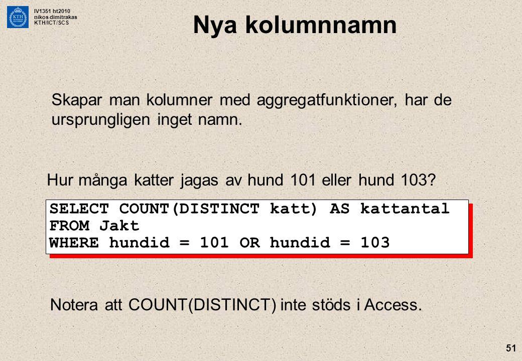 IV1351 ht2010 nikos dimitrakas KTH/ICT/SCS 51 Nya kolumnnamn Skapar man kolumner med aggregatfunktioner, har de ursprungligen inget namn.