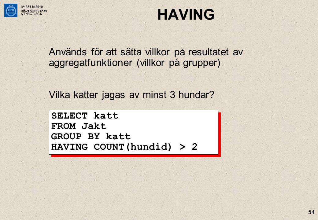 IV1351 ht2010 nikos dimitrakas KTH/ICT/SCS 54 HAVING Används för att sätta villkor på resultatet av aggregatfunktioner (villkor på grupper) Vilka katt