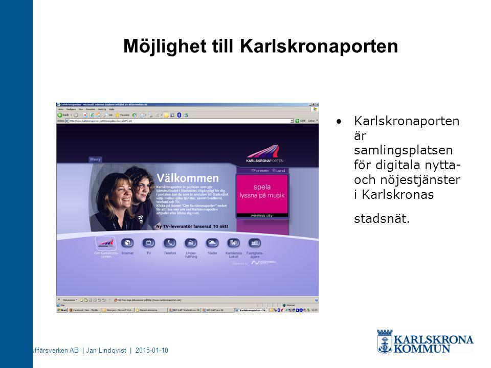 Möjlighet till Karlskronaporten Karlskronaporten är samlingsplatsen för digitala nytta- och nöjestjänster i Karlskronas stadsnät. Affärsverken AB | Ja